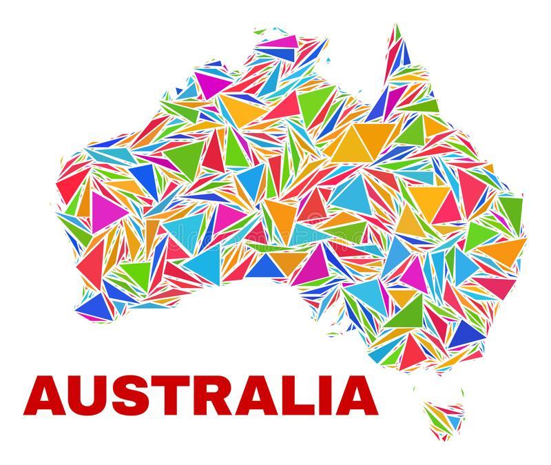 Mapa de Austrália - mosaico de triângulos da cor ilustração do vetor