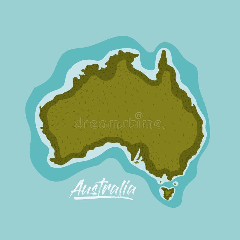 Mapa de Austrália no verde cercado pelo oceano ilustração royalty free