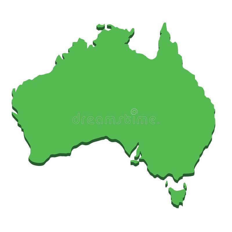 Mapa de Austr?lia Continente australiano da silhueta isolado no fundo branco Países da geografia e da cartografia de ilustração stock