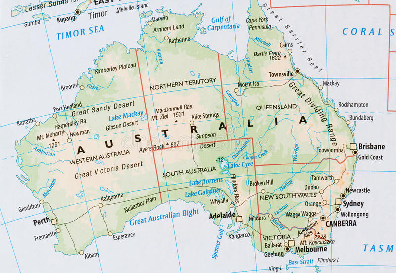 Mapa de Australia imagenes de archivo