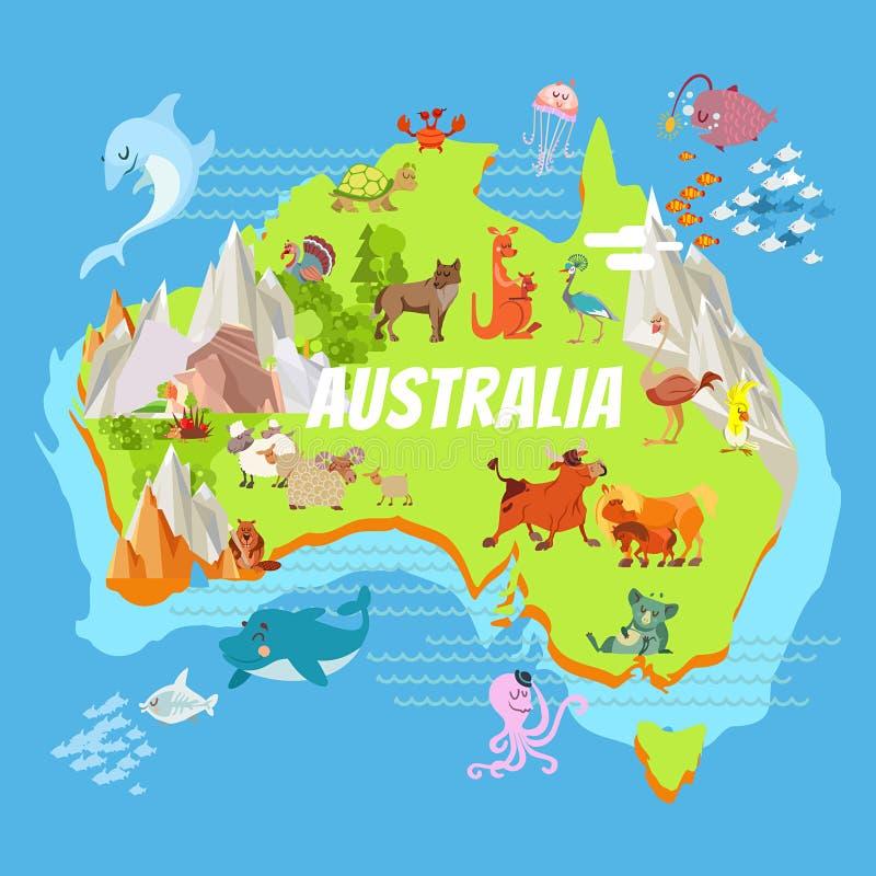 Mapa de Australia de la historieta con los animales stock de ilustración