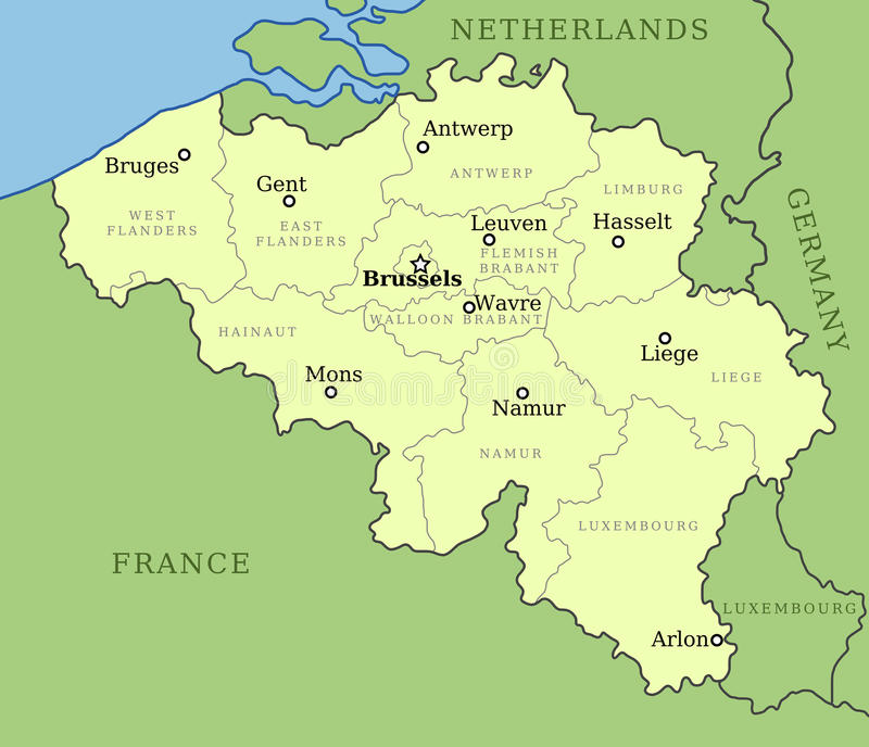 Mapa de Bélgica ilustração stock