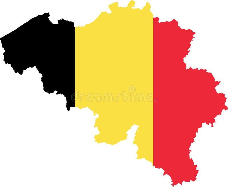Mapa de Bélgica com bandeira ilustração stock