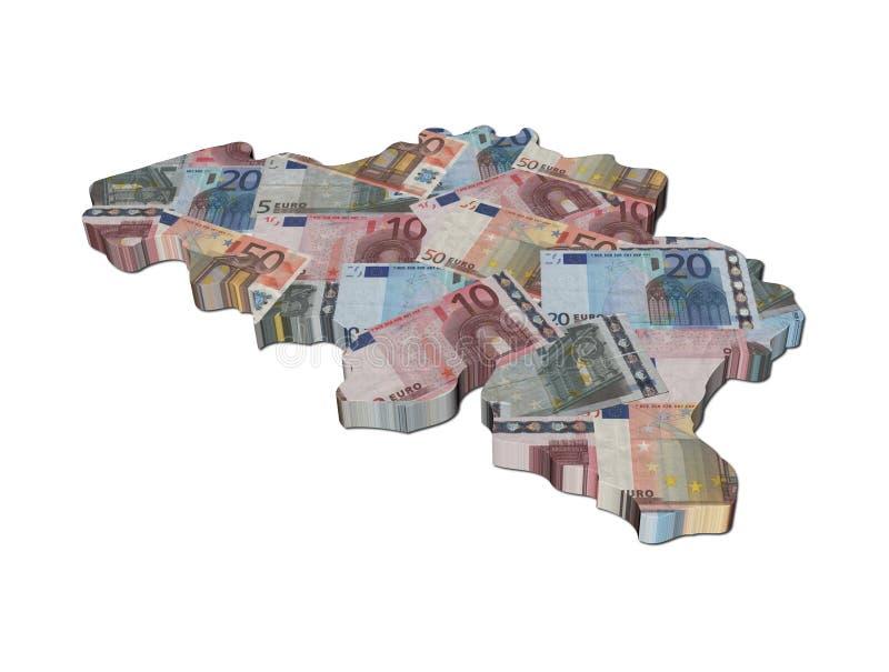 Mapa de Bélgica com euro ilustração stock
