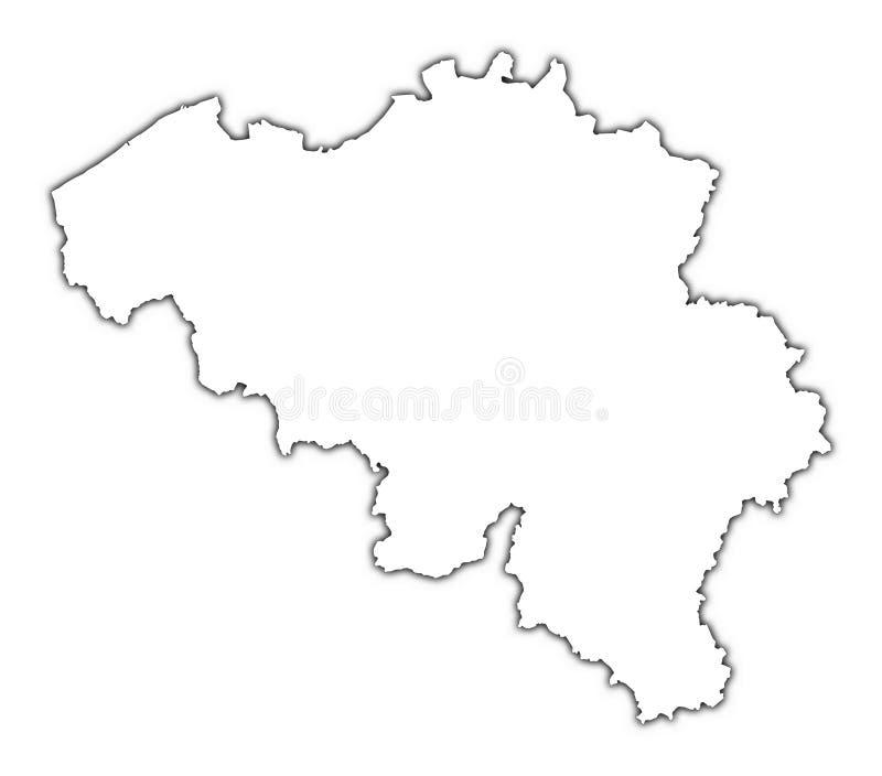 Mapa de Bélgica com sombra ilustração stock