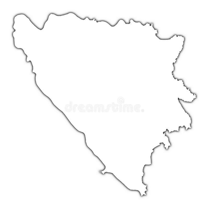 Mapa de Bósnia e de Herzegovina ilustração stock