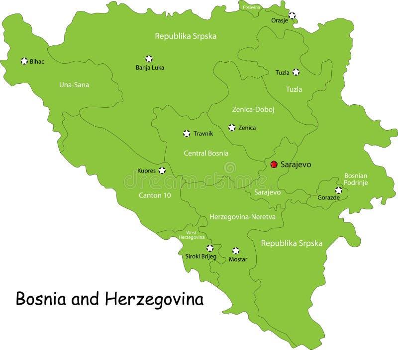 Mapa de Bósnia e de Herzegovina ilustração do vetor