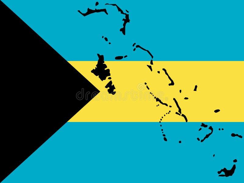 Mapa de Bahamas ilustração stock