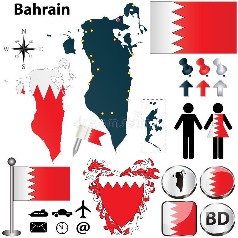 Mapa de Bahrein ilustración del vector