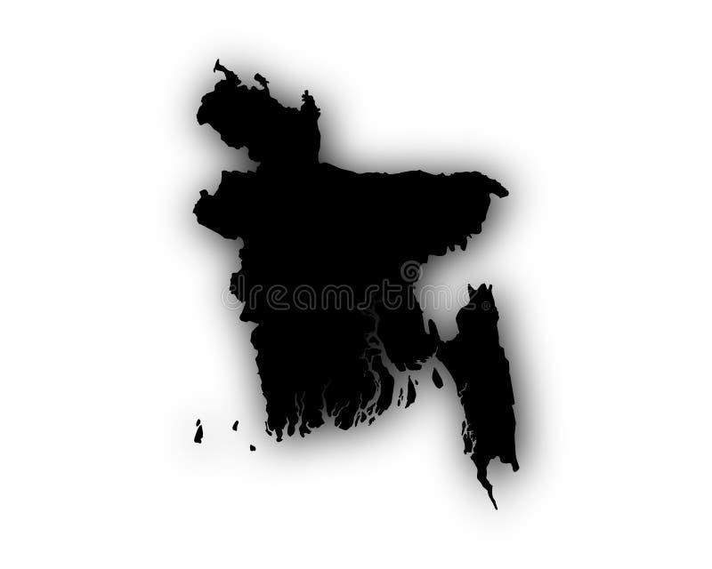 Mapa de Bangladesh con la sombra ilustración del vector
