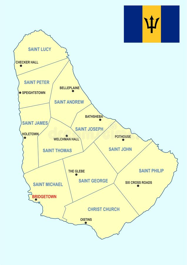 Mapa de Barbados ilustração royalty free