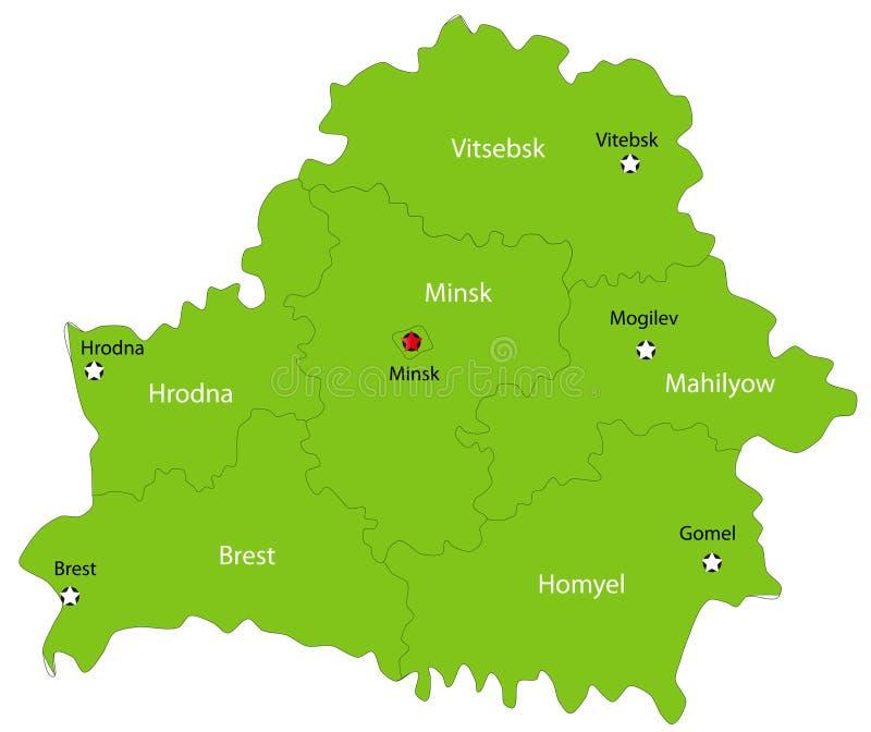 Mapa de Belarus do vetor ilustração stock
