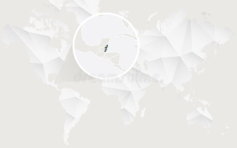 Mapa de Belice con la bandera en contorno en el mapa del mundo poligonal blanco stock de ilustración