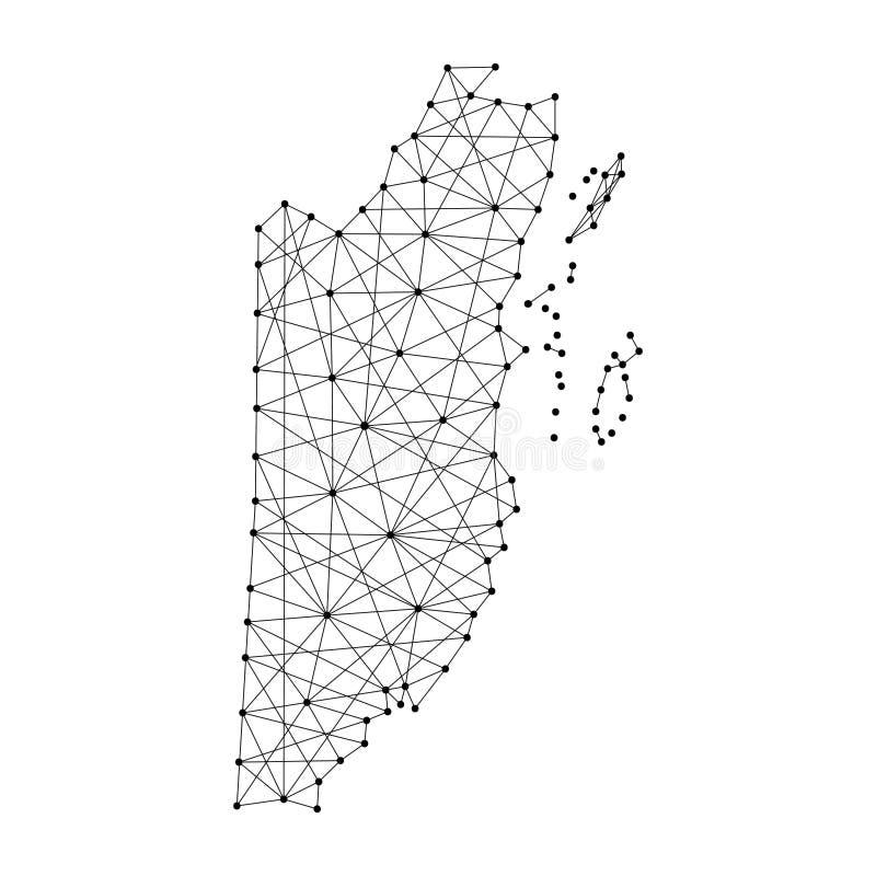 Mapa de Belice de las líneas negras poligonales, puntos del ejemplo stock de ilustración