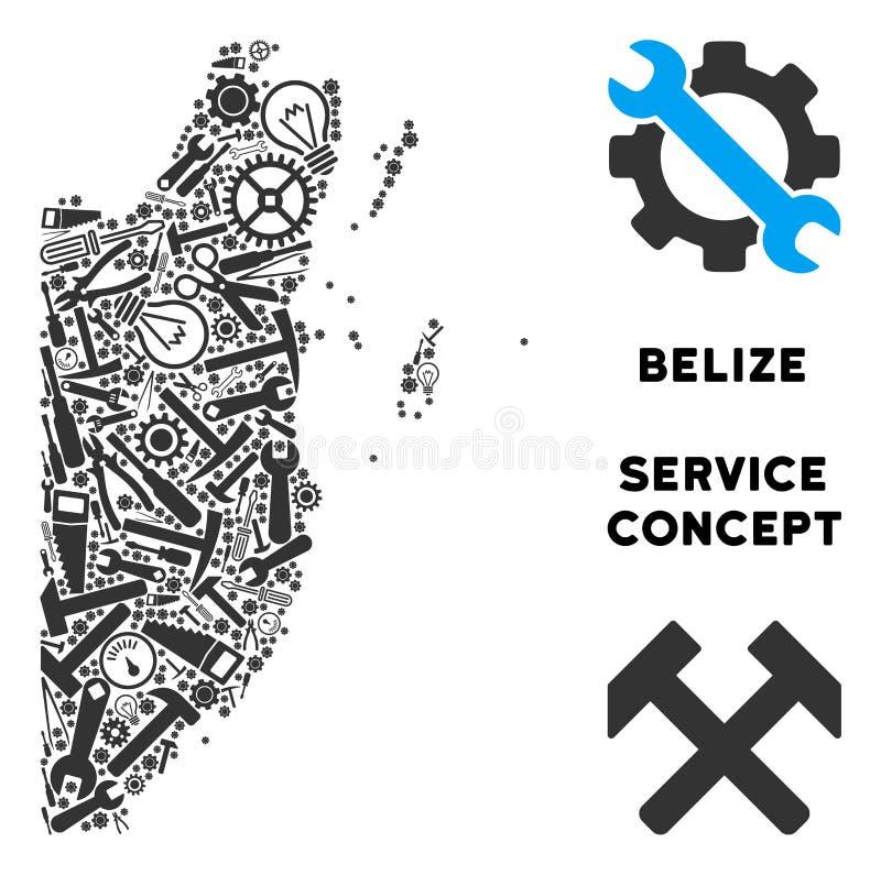 Mapa de Belice del mosaico de las herramientas de la reparación libre illustration