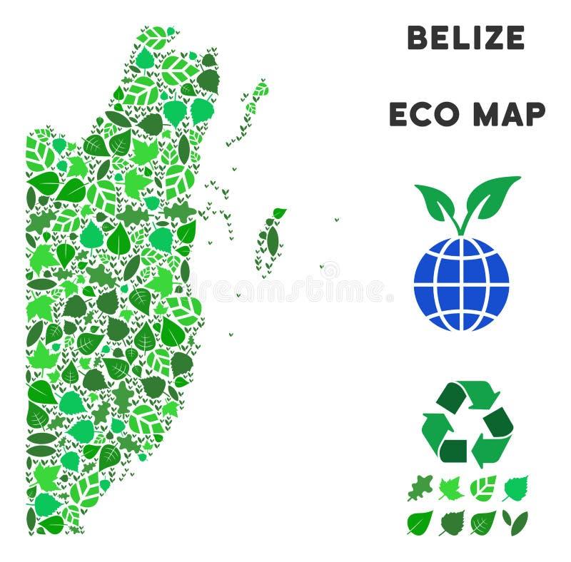 Mapa de Belice del mosaico del verde de la ecología del vector ilustración del vector