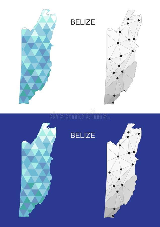 Mapa de Belice en estilo poligonal geométrico Triángulo abstracto de las gemas ilustración del vector