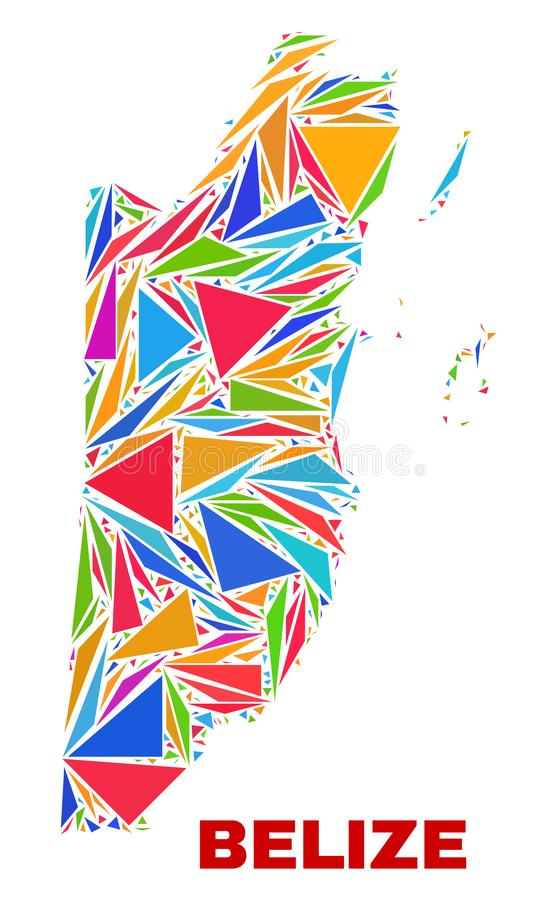 Mapa de Belice - mosaico de los triángulos del color libre illustration