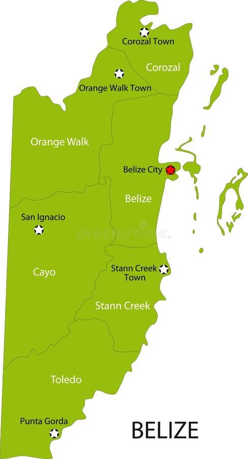 Mapa de Belize ilustração stock