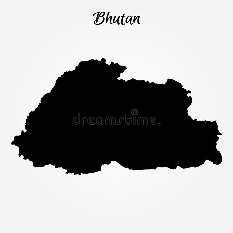 Mapa de Bhután stock de ilustración
