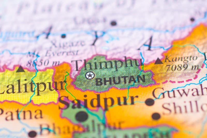 Mapa de Bhután foto de archivo
