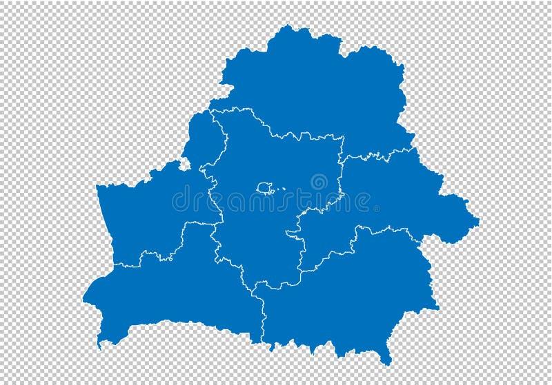 Mapa de Bielorrússia - mapa azul detalhado da elevação com condados/regiões/estados de belarus mapa de belarus isolado no fundo t ilustração do vetor