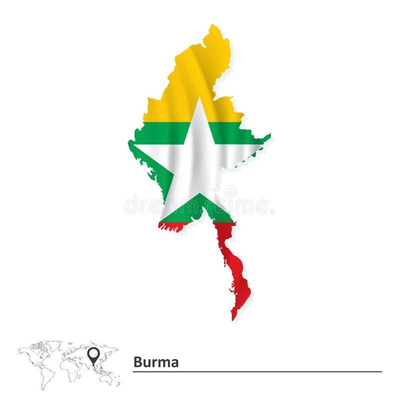 Mapa de Birmania con la bandera ilustración del vector