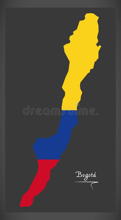 Mapa de Bogotá de Colômbia com ilustração colombiana da bandeira nacional ilustração stock
