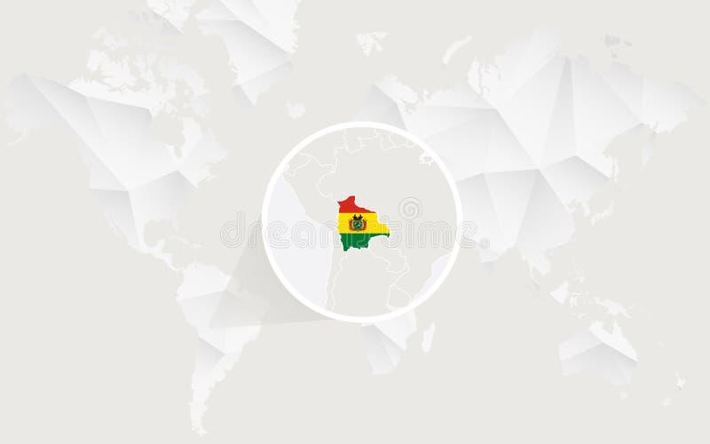 Mapa de Bolívia com a bandeira no contorno no mapa do mundo poligonal branco ilustração stock