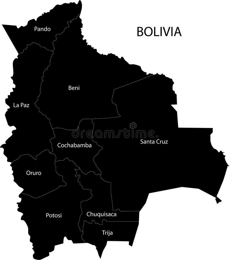 Mapa de Bolívia do vetor ilustração do vetor