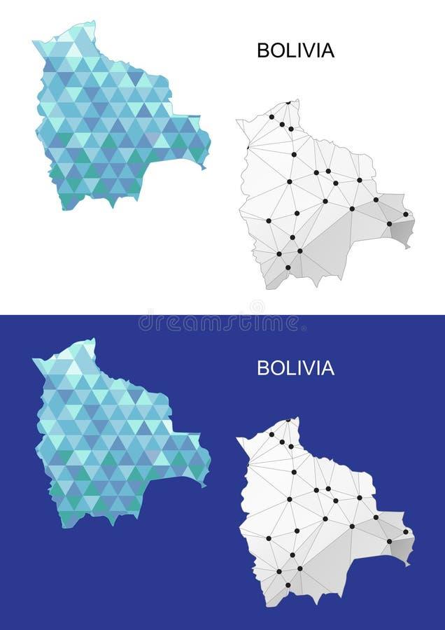 Mapa de Bolívia no estilo poligonal geométrico Triângulo abstrato das gemas ilustração do vetor
