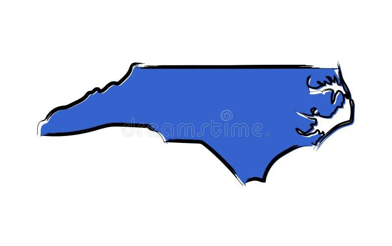 Mapa de bosquejo azul estilizado de Carolina del Norte ilustración del vector