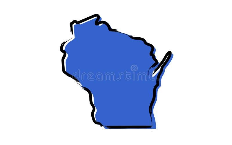 Mapa de bosquejo azul estilizado de Wisconsin libre illustration