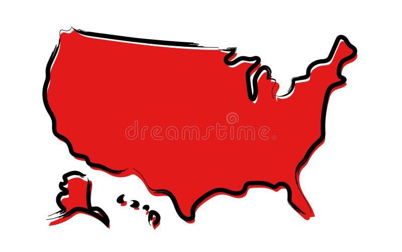 Mapa de bosquejo rojo de los E.E.U.U. stock de ilustración