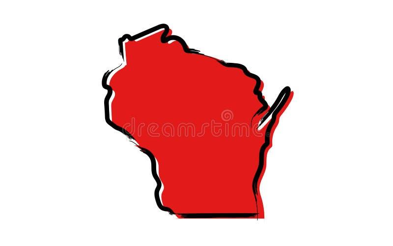 Mapa de bosquejo rojo de Wisconsin ilustración del vector