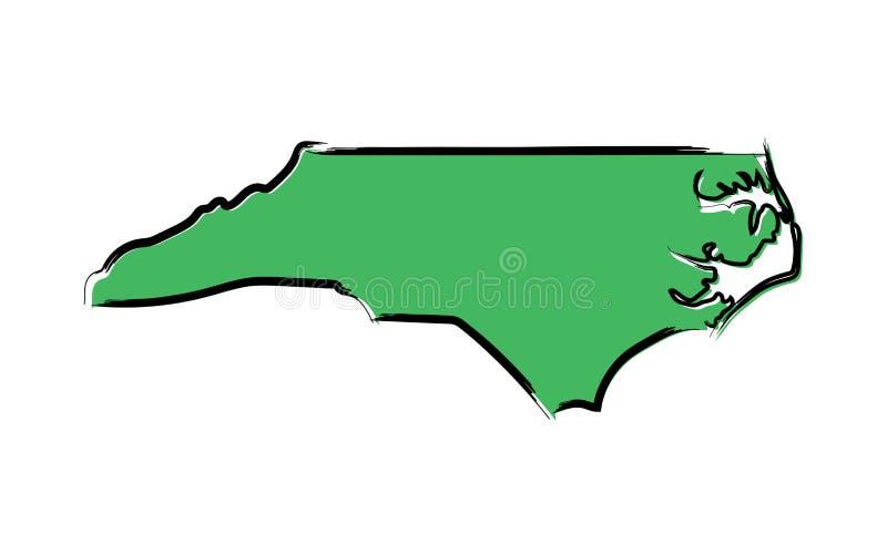 Mapa de bosquejo verde estilizado de Carolina del Norte ilustración del vector