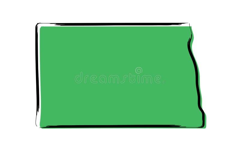 Mapa de bosquejo verde estilizado de Dakota del Norte stock de ilustración