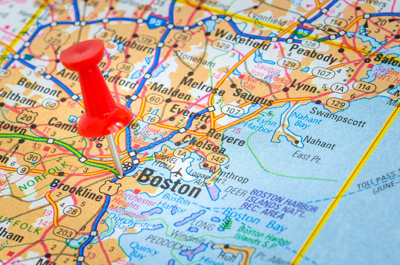 Mapa de Boston con un pasador fotografía de archivo libre de regalías