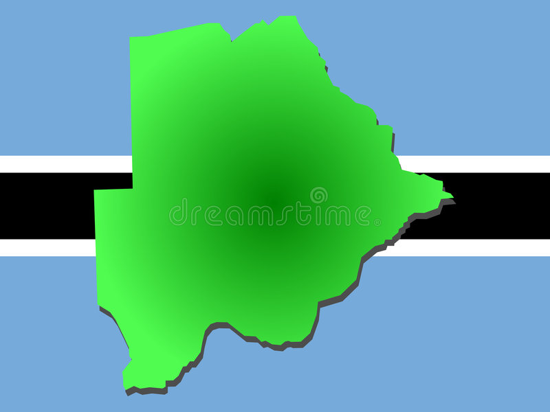 Mapa de Botswana ilustração do vetor