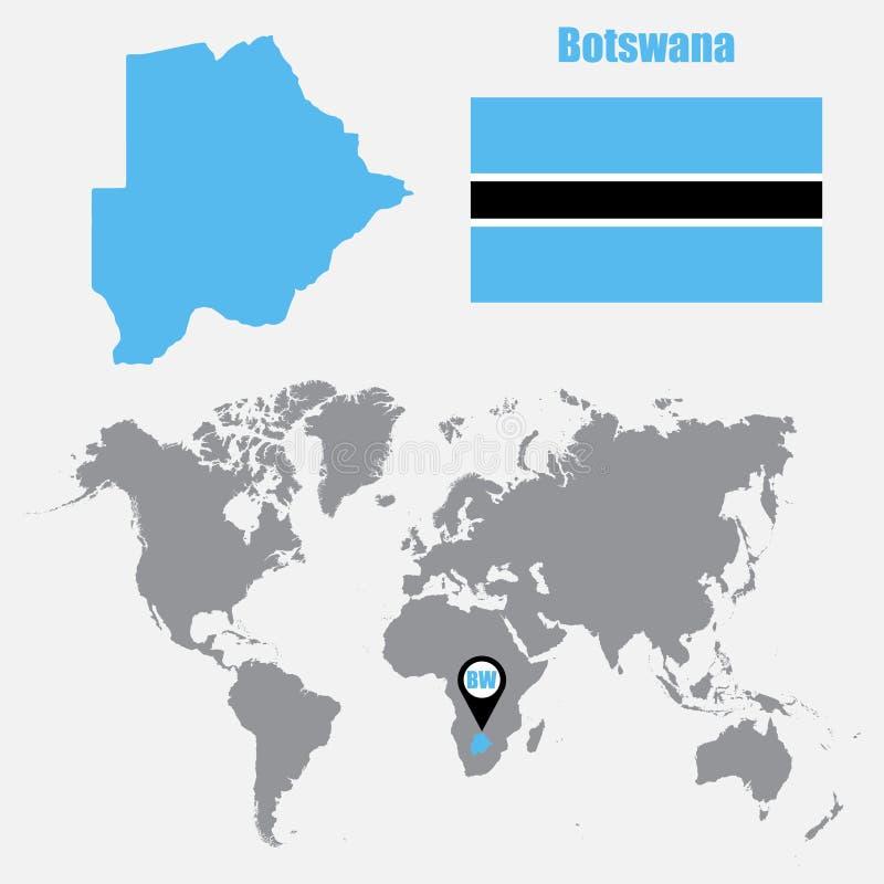 Mapa de Botswana en un mapa del mundo con el indicador de la bandera y del mapa Ilustración del vector ilustración del vector
