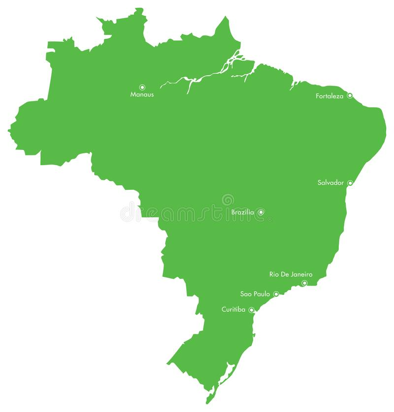 Mapa de Brasil com cidades ilustração royalty free
