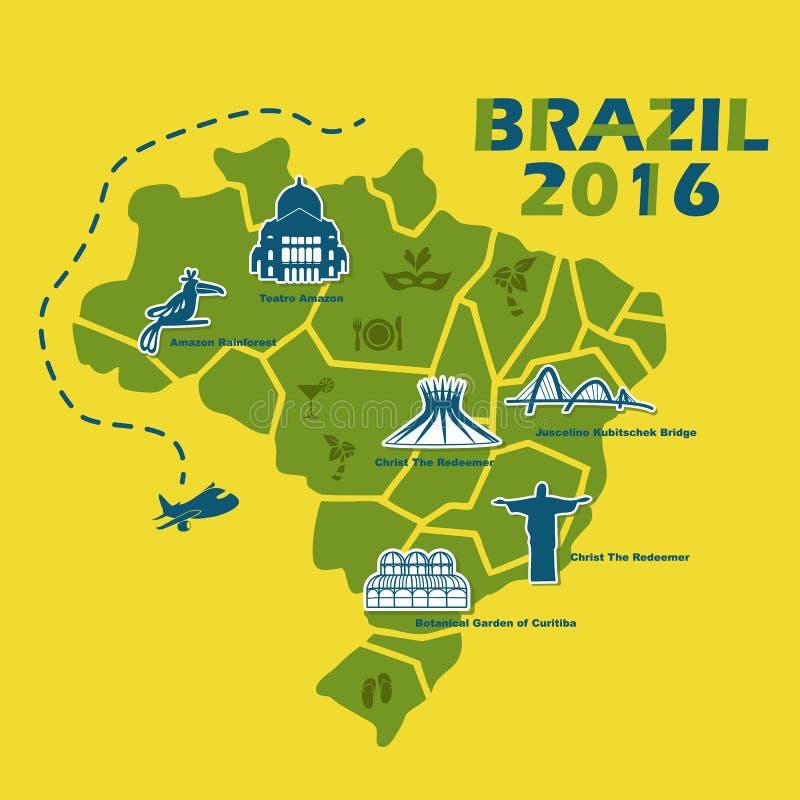 Mapa de Brasil com texto 2016 ilustração do vetor