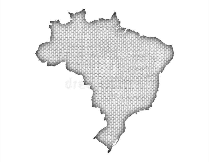 Mapa de Brasil no linho velho ilustração royalty free
