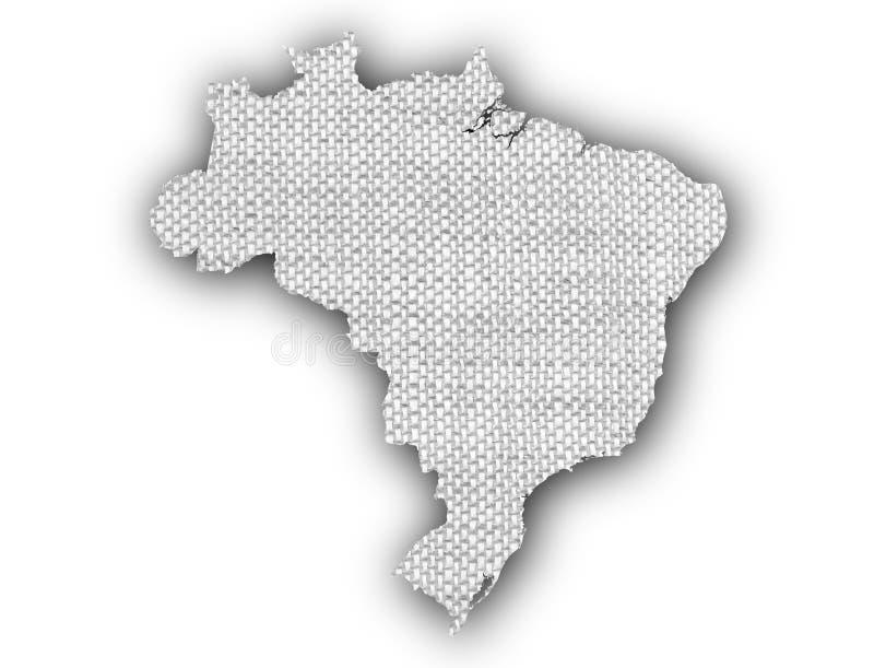 Mapa de Brasil no linho velho ilustração stock