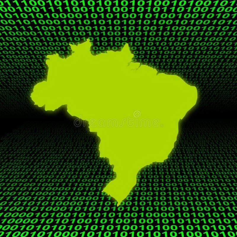 Mapa de Brasil sobre o código binário ilustração do vetor