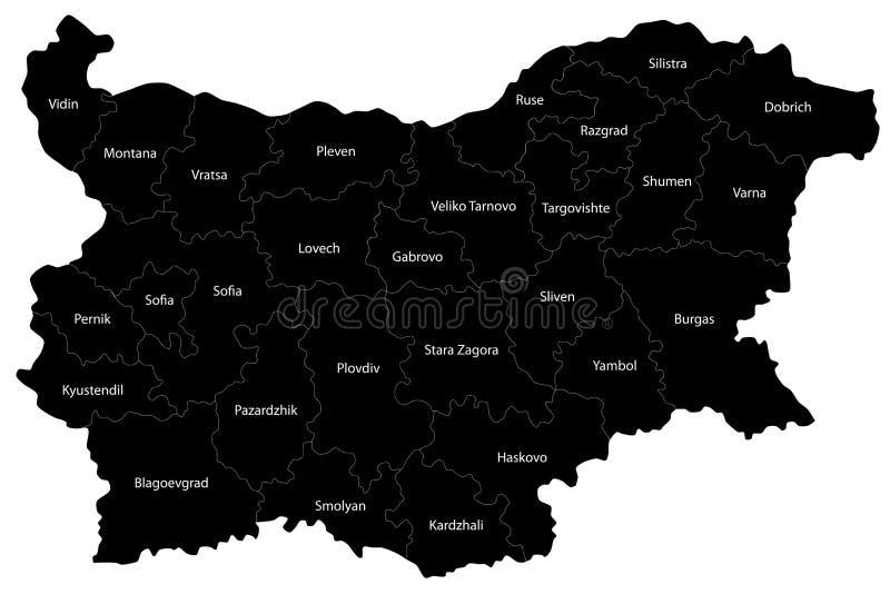 Mapa de Bulgária ilustração stock