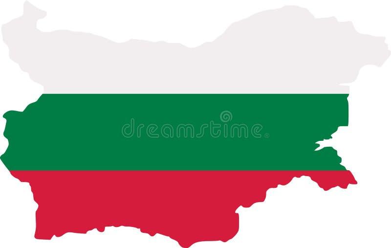 Mapa de Bulgaria con la bandera stock de ilustración
