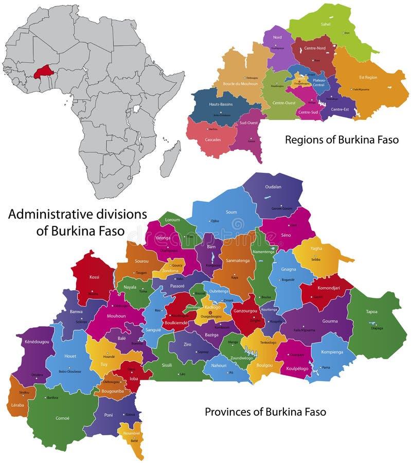 Mapa de Burkina Faso ilustração do vetor
