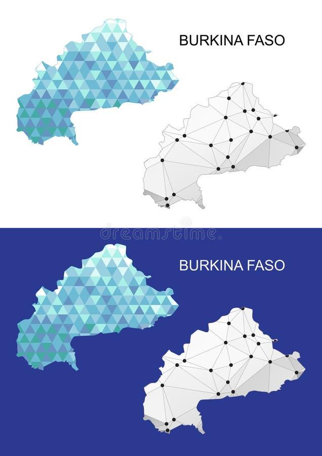 Mapa de Burkina Faso en estilo poligonal geométrico Triángulo abstracto de las gemas stock de ilustración