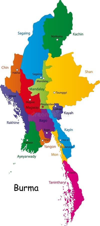 Mapa de Burma ilustração do vetor